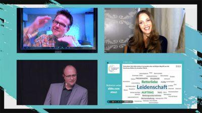 Steffen Beck (oben links) im Gespräch mit Kirstine Fratz und Christian Haslebacher. Auf dem vierten Screen sind Lernpunkte der Teilnehmerinnen und Teilnehmer zu lesen.